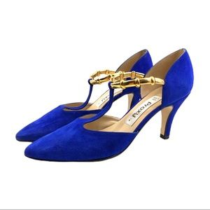 Vtg Proxy Blue Suede Gold Pointed T Strap Heels